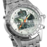 Brand New mens man analog digital alarm white face stainless steel sport quartz watch WM014-ESS