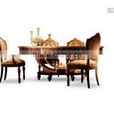 European classic dining room set solid wood dining table and chair arab style design A23430                                                                         Quality Choice