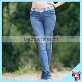 New Lace Pearl Button Style Long Ladies Jean Pants