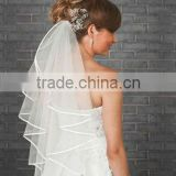 1 Tier Ivory Wedding Bridal Elbow Wedding Satin Edge Veil
