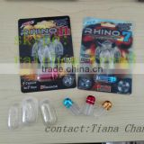 wholesale 100% natural herb rhino capsule 3D blister card with clear plastic food grade tube with cap/plastic capsule insert