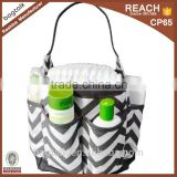 DB0570 Black And White Stripe Diaper Bag Caddy Bath Organizer
