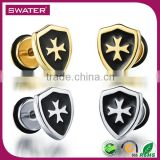 Alibaba Express Jewelry Cool Shield Cross Earring For The Boy