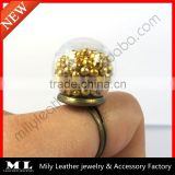 2014 Glass Globe Ball with Bronze Ring Base DIY Ring Miniature Glass Dome Glass Bubble GHBR-002