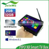 PIPO X8 TV BOX Mini PC Win 8.1+Android 4.4 Dual Boot Intel Z3736F Quad Core up to 2.16 GHz Media Play 2GB DDR3L RAM