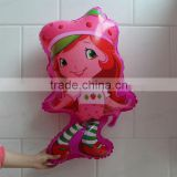 75*42cm Strawberry Girl Helium balloons for children birthday party supplies foil ballon                                                                         Quality Choice