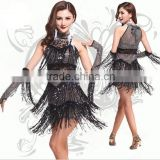 2016 New Design Latin Dance Dress, Jazz/Salsa Dance Costumes for Girls, Sequined High Collar Night Club Dancewear, Black, Red