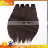 Natural Color 100% Human Virgin Brazilian Silky Straight PU Tape Hair at Factory Price