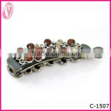 2014 Vintage coffee color diamond Banana Hair Barrette Clip Supplies factory in china