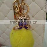 fur pompom maker/fox fur ball keychian/colourful rabbit fur pom pom ball for keyring and bags