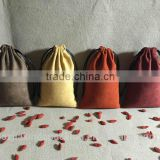 Colored Soft Faux Suede Drawstring Jewelry Pouches