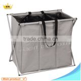 Iron tube Powder coating Oxford and Mesh fabric 3 bags Laundry Baskets X Shape Made in China