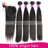 Unprocessed human hair with closure natural raw Indian hair