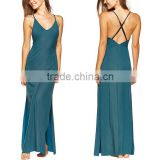 Wholesale Deep V Neck Maxi Beach Party Wear Dress Sexy Slit Ladies Western Long Backless Beachwear Dress
