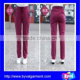 Wholesale Skinny Fitted 100% Polyester Spandex Yoga Sweat pants with Side Pocket for Women