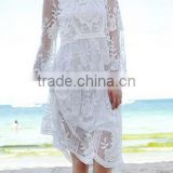 EY0040A New arrival women beach wear fashion long sleeve sexy short mini white lace dress