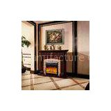 Antique 1.5m Drak Brown Imitation Marble Faux Stone Electric Fireplace With Decorative Flame