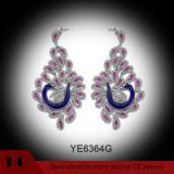 Micro Pave And Enamel Craft Zirconia Silver Trendy Peacock Earrings