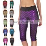 Female beachwear shinny Fish Scale yoga fitness pants
