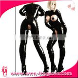 Sexy gay fetish women catsuit cupless erotic zentai costume lingerie full faux leather overall clubwear