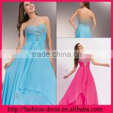 Elegant Sweetheart and Strapless Neckline Chiffon with Beaded Flowers Empire Style Floor Length Backless Evening Dress