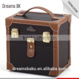 Hot Sale PVC portable beauty bag with mirror & tray, PVC cosmetic makeup display case