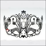 Luxury Elegant Silver Metal Laser Cut New Beetle Mask with Rhinestones Crystal