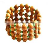 Top Quality wooden round bead Brand bangles adjustable arm bracelet jewelry pulseiras femininas pulseira couro