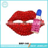 High Grade Sexy Lips Rhinestone Brooch With Bulk Metal Safety Pins And Brooch