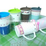 2013 newest porcelain coffee mug with plastic cover various design for selection (small order welcome)
