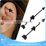 Stainless Steel Black Anodised Arrow Fake Industrial Piercing Jewelry