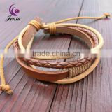 Jenia 2016 New Products Black And Brown Braided Leather Bracelet, Plain Leather Bracelets