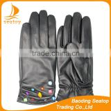Ladies 2016 aniline best seller leather winter gloves with beautiful diamonds