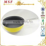 Yellow painting stainless steel pan non stick divided frying pan