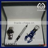 promotional gift box jewelry set with men's watch pen bottle opener