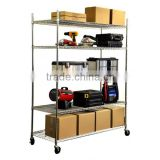 Heavy Duty Wire Shelving Rack w/Wheels - Chrome