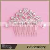 Top Grade Bridal Hair Accessory Wedding Jewelry Crystal With Pearl Hair Comb Fashion Flower Hairpin