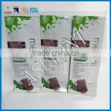 wholesale flat bottom side gusset stand up pouch for chocolate packaging with tear notch