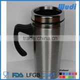 screw lid travel mug with handle ,double wall stainless steel CM217                                                                         Quality Choice