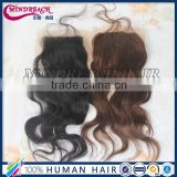 "7A wholesale Brazilian hair closures 4""*4"" body wave virgin hair silk base free part closure"