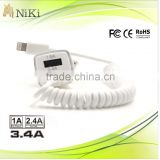 Retractable usb cable to 3.4A car charger for iphones