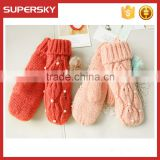 V-408 wholesale cable pattern handmade mitten gloves handmade mitten gloves knit arm warmer