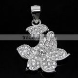 SJ3135 flower shape 925 sterling silver necklace jewelry connector,cz micro pave pendant
