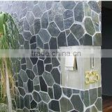 natural split surface finishing black irregular random shape slate decorative outdoor stone wall tile
