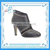 Trendy punk style black leather boot shoes studded boots for ladies