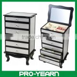 Modern Wooden Jewelry Cabinet with Mirror and Drawers and Special Surface Texture and Knobs and Supporting Feet and Compartments