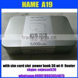 Hame A19 3g power bank 3g wifi router hame A19 with 5200mAh battery