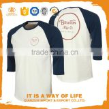 Men 3/4 sleeve blank cotton printing baseball t shirt wholesale