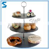 round shape natural slate serving 3 tier dessert stands