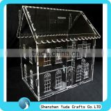Customize Designs Clear Acrylic Money Coin Box House Shaped Donation Box
